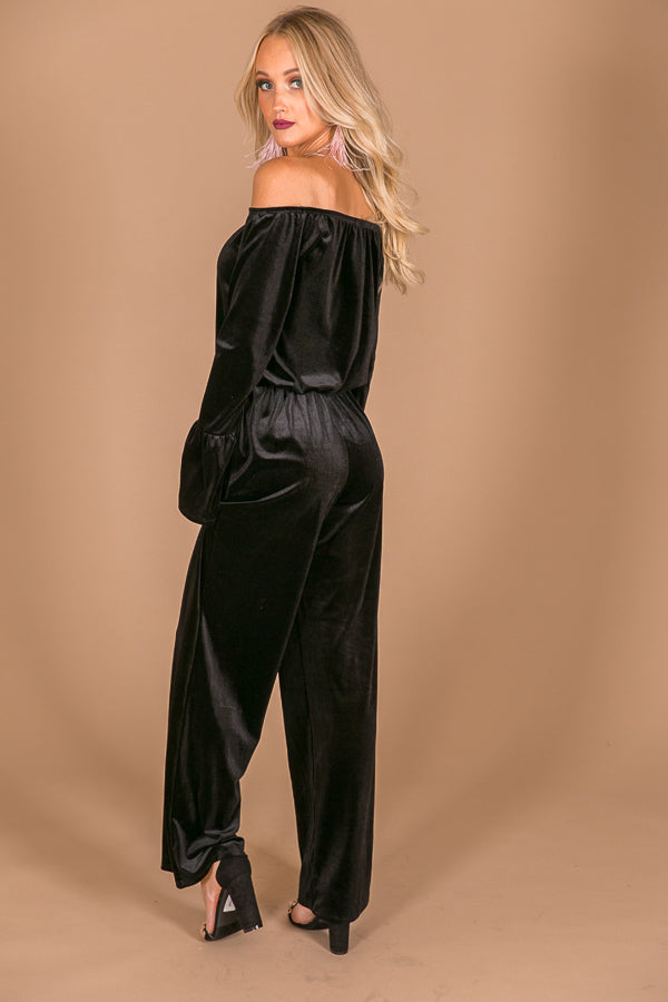 Total Allure Off Shoulder Velvet Jumpsuit In Black Impressions