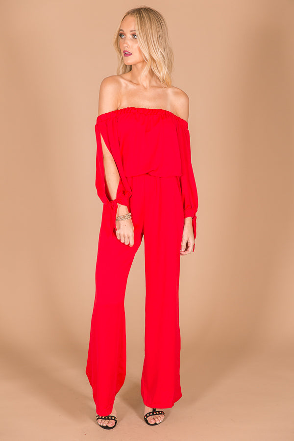Haute For Happy Hour Jumpsuit in Red