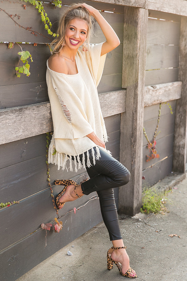 Pumpkin Spice Dreaming Tunic Sweater in Cream