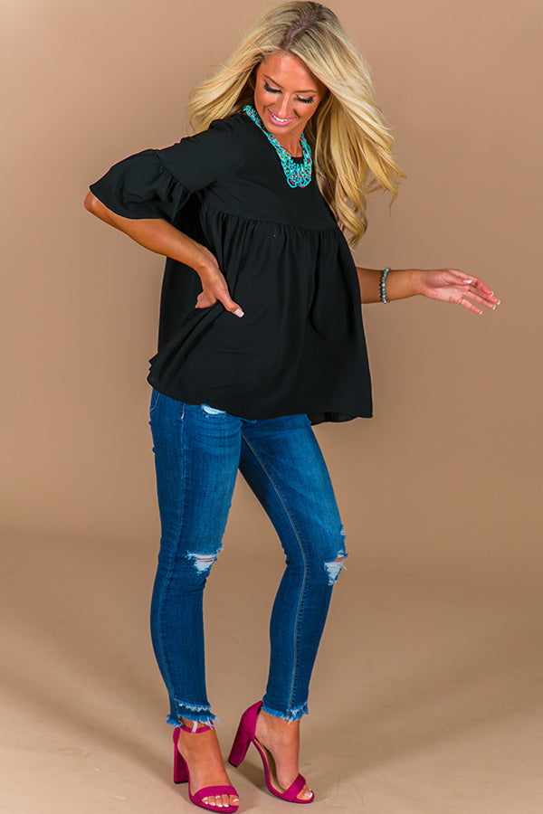 Oh So Sweet Shift Top in Black