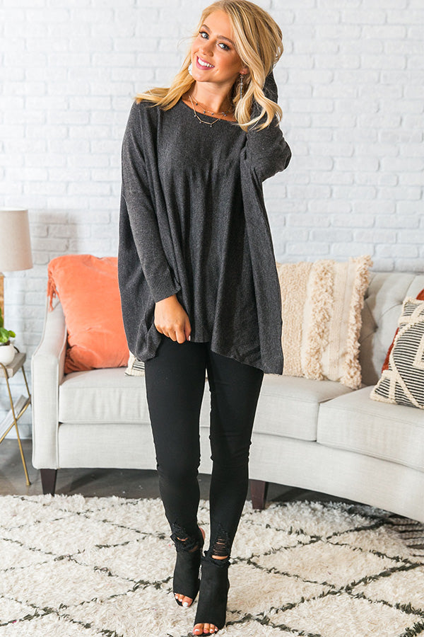 Fireside Swooning Tunic Sweater in Charcoal