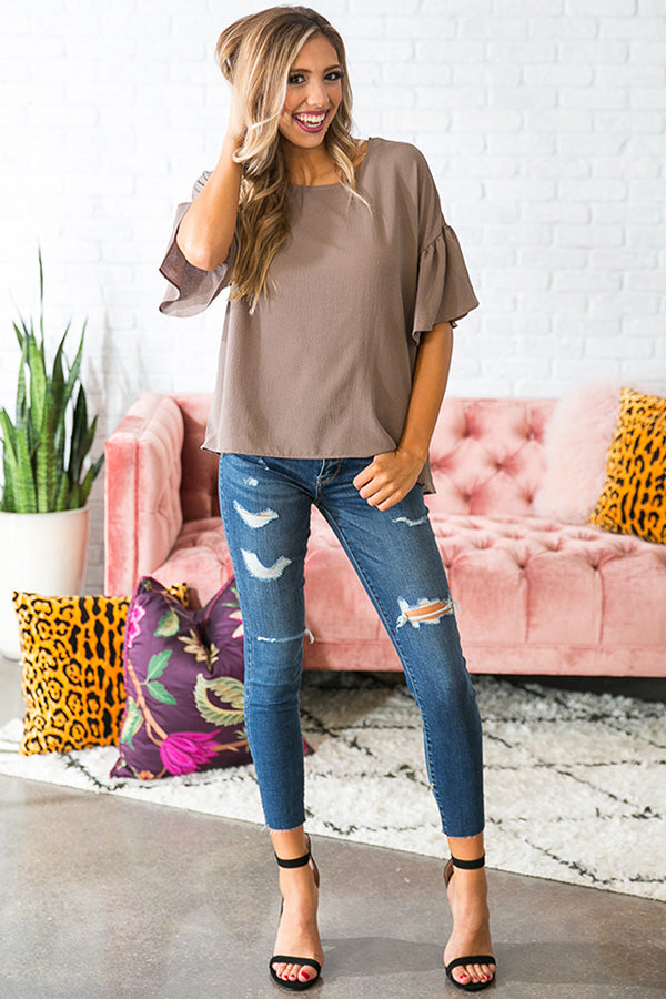 Oh So Swept Away Shift Top in Mocha