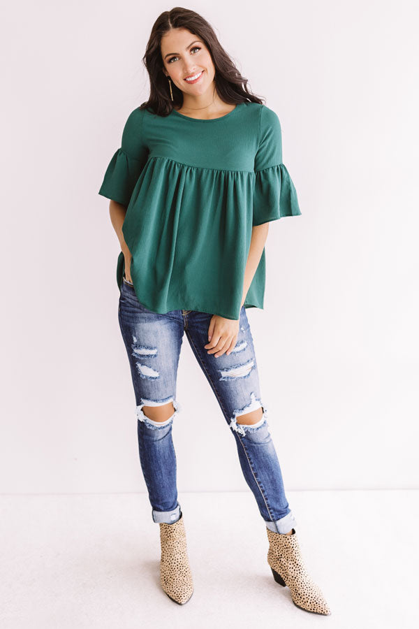 Oh So Sweet Shift Top in Hunter Green