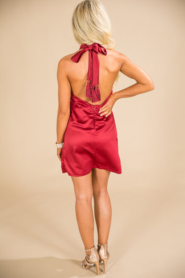 First Class Ticket Satin Dress in Wine