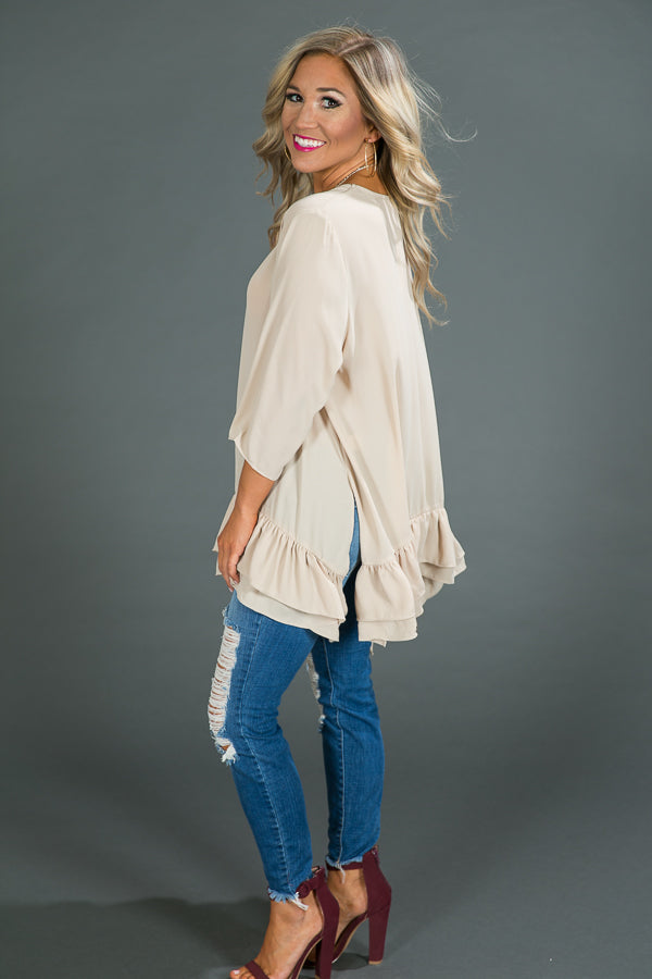 Ruffle My Way Shift Tunic in Iced Latte