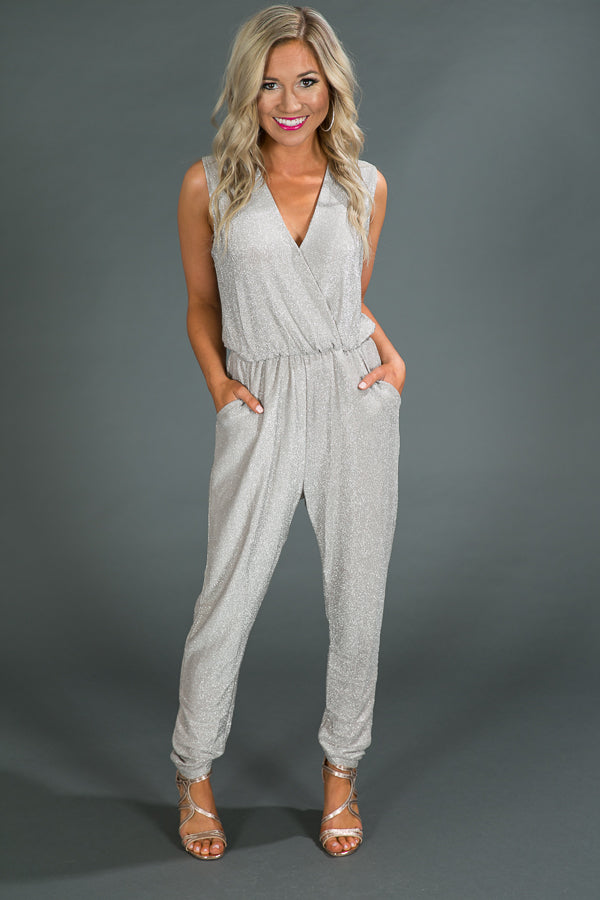 Prosecco Perfection Jumpsuit in Silver
