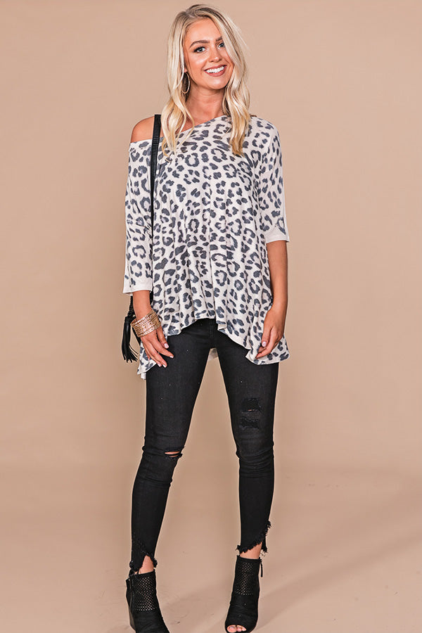 Leopard So Divine Shift Top in Grey