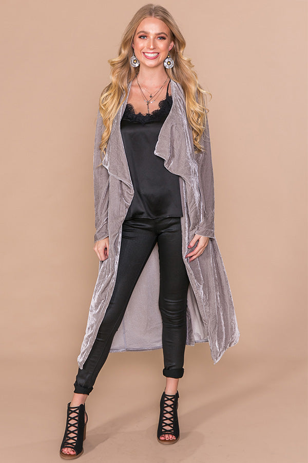 Fly Away With Me Velvet Cardigan in Grey