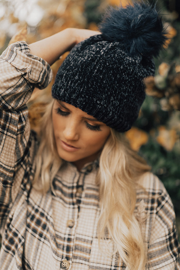Wine Night Ultra Soft Beanie in Navy