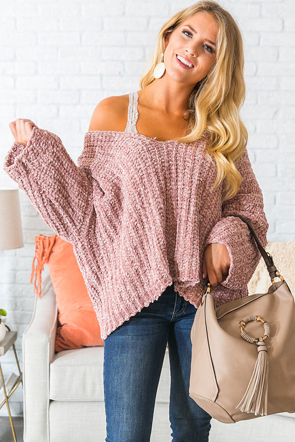 All The Goals Chenille Sweater in Blush