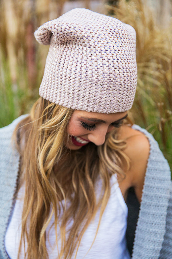 Cold Snap Metallic Beanie in Blush