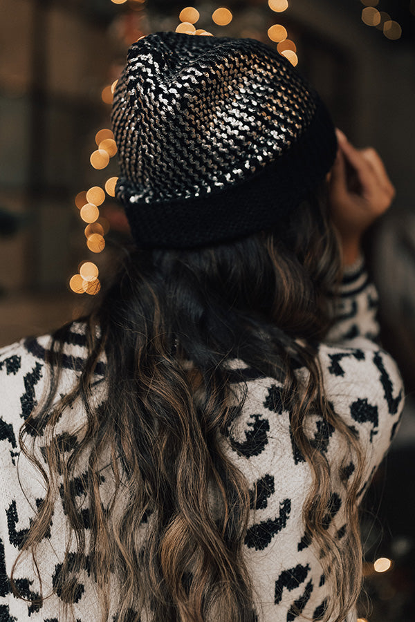 Cold Snap Metallic Beanie in Black