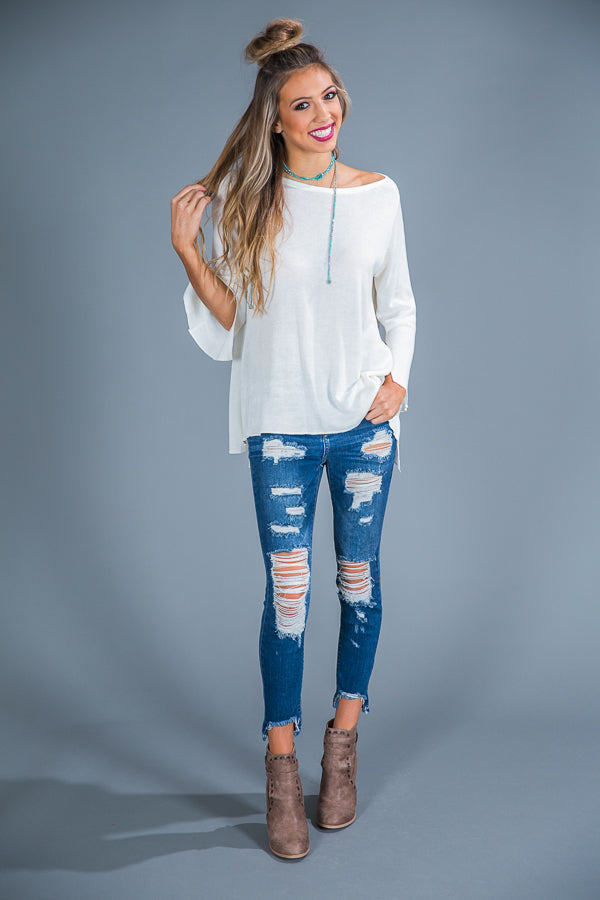 Bonfire Party Shift Top in Ivory