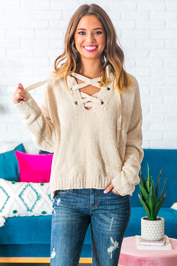 Snowfall Sweetness Chenille Lace Up Sweater in Cream