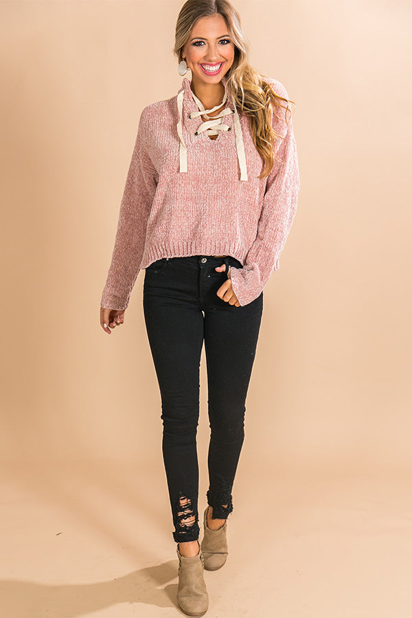 Snowfall Sweetness Chenille Lace Up Sweater in Blush