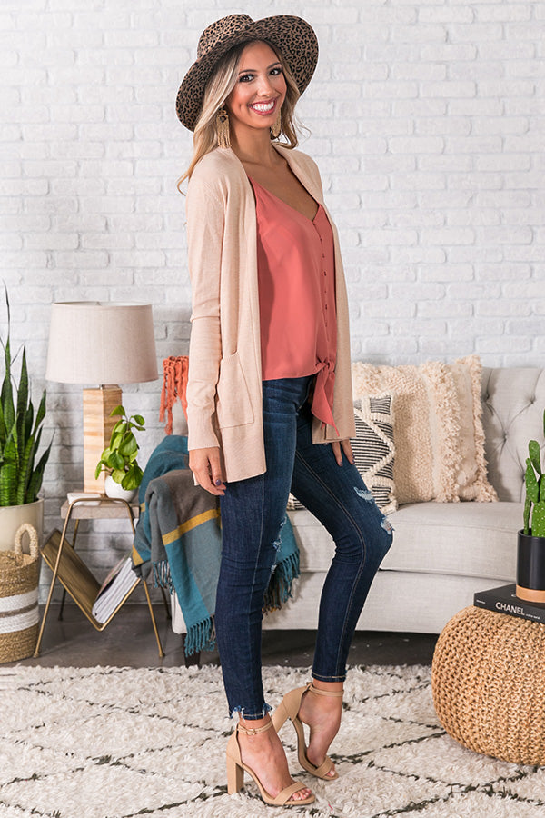 Best In Class Cardigan in Iced Latte
