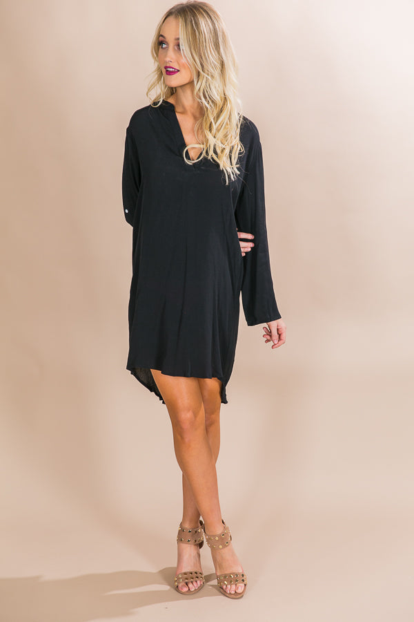 Pour The Pinot Shift Dress in Black