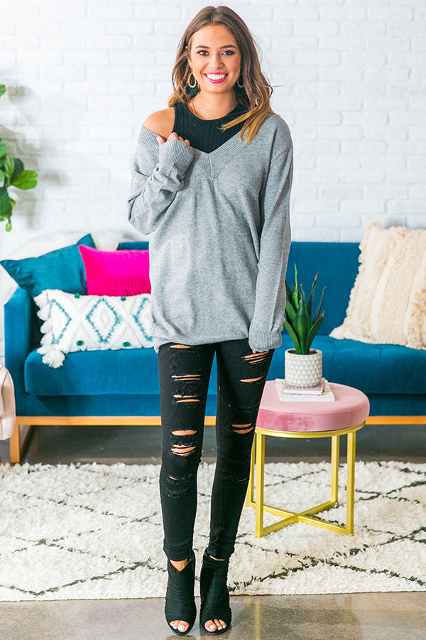 Laid Back Layered Sweater in Grey