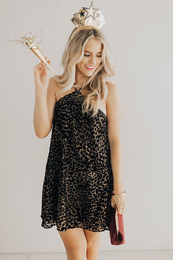 Paris Pristine Leopard Velvet Shift Dress