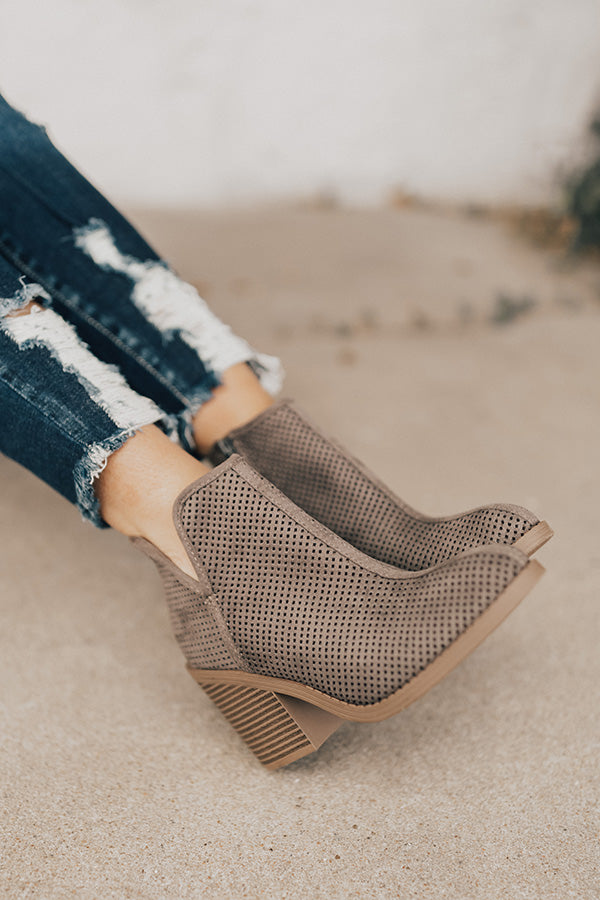 The Stella Perforated Bootie in Charcoal