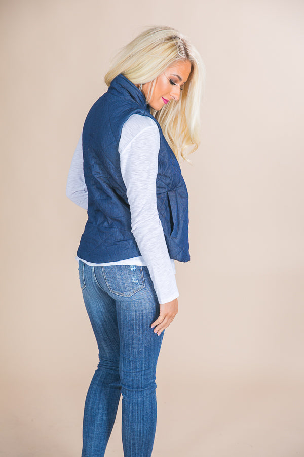Cozy Chambray Quilted Vest