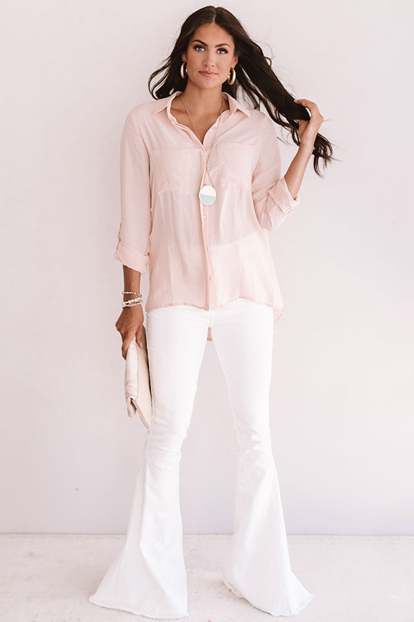 All Business Shift Top in Light Peach