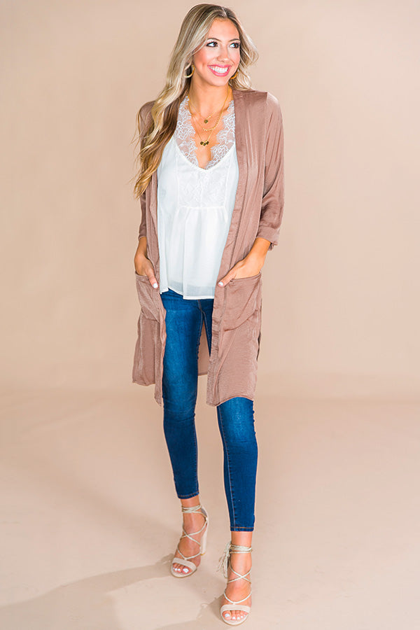 First Class Only Satin Cardigan in Mocha
