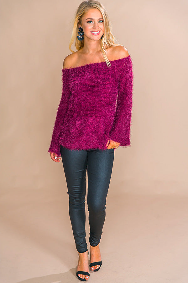 Winterberry Cuddles Fuzzy Sweater in Sangria