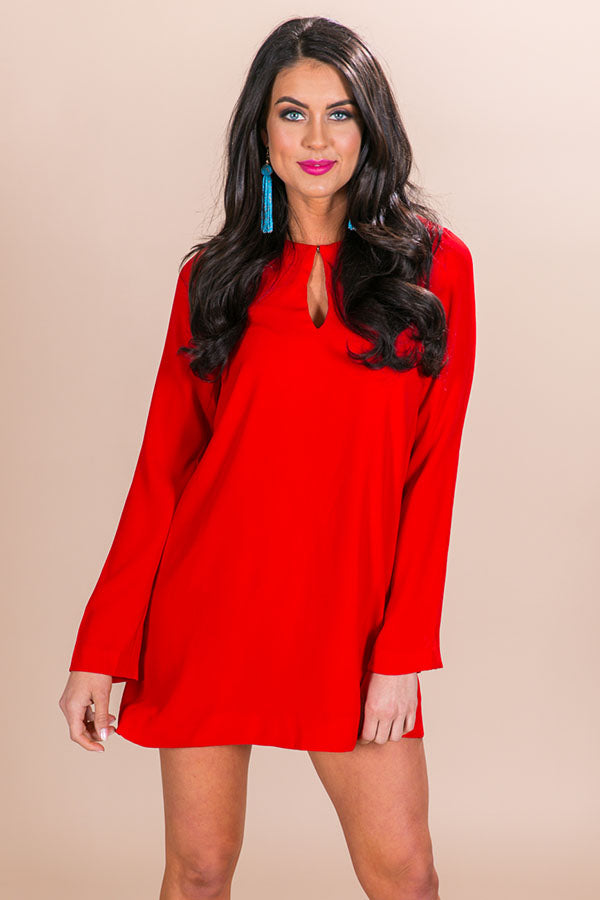 Downtown Dreaming Shift Dress in Red