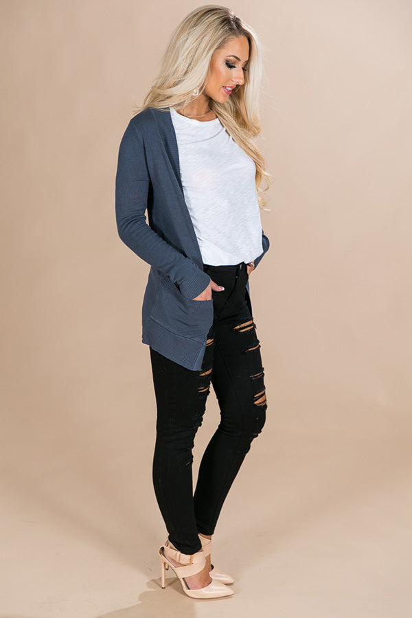 Brunching Babes Cardigan in Slate