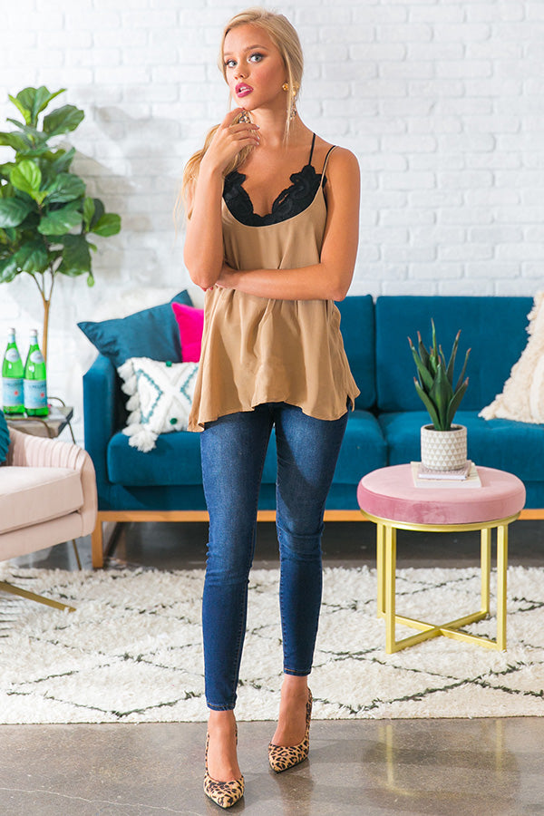 Not Your Basic Shift Tank in Beige