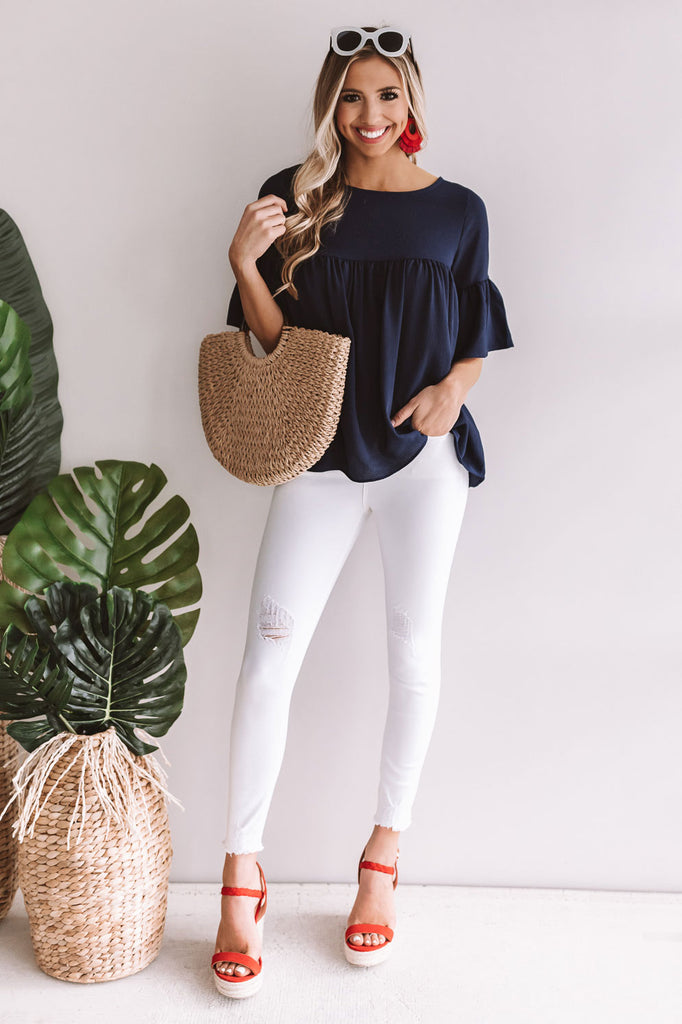 Oh So Sweet Shift Top in Navy