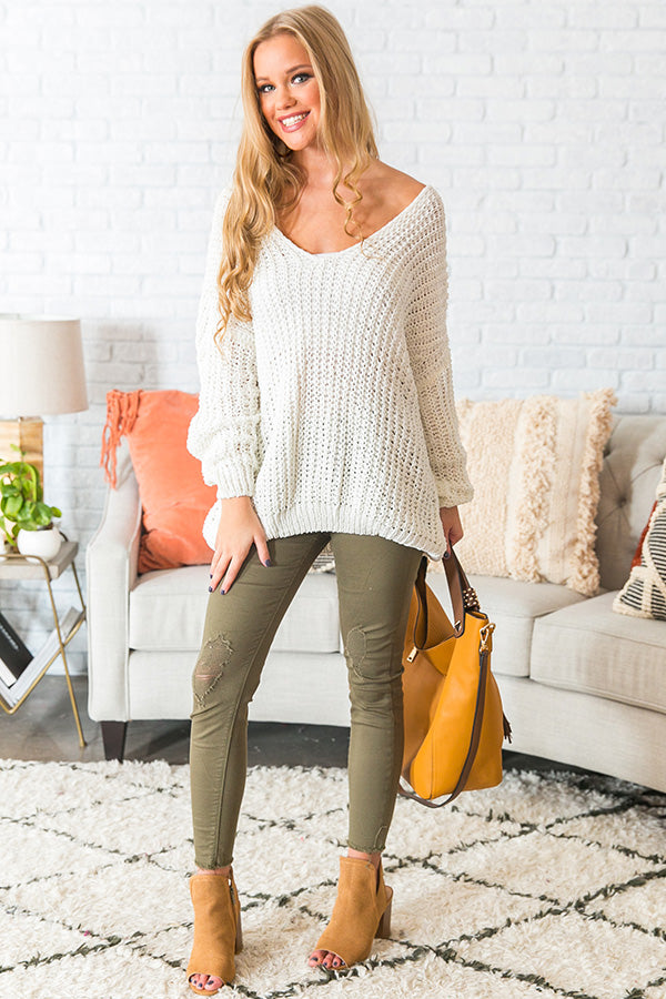 Eye Candy Tunic Sweater in White