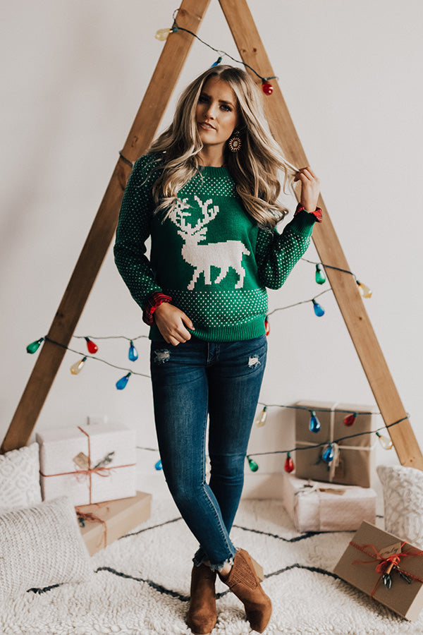 Evergreen Bliss Shift Sweater in Green