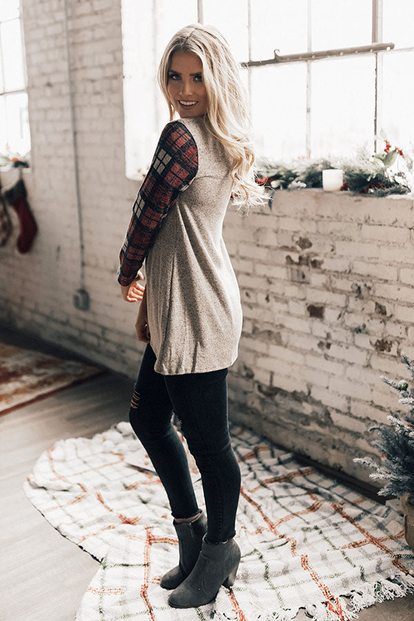 Merlot In Manhattan Shift Sweater in Plaid