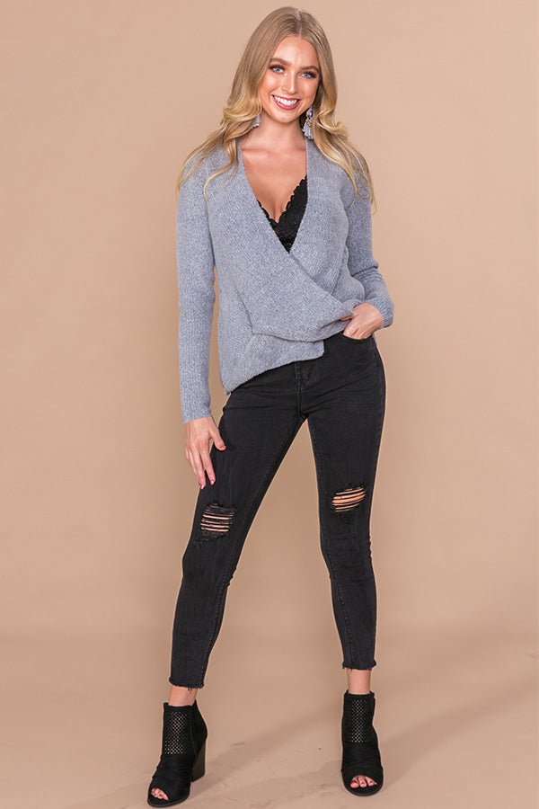Cozy Comforts Wrap Sweater In Grey