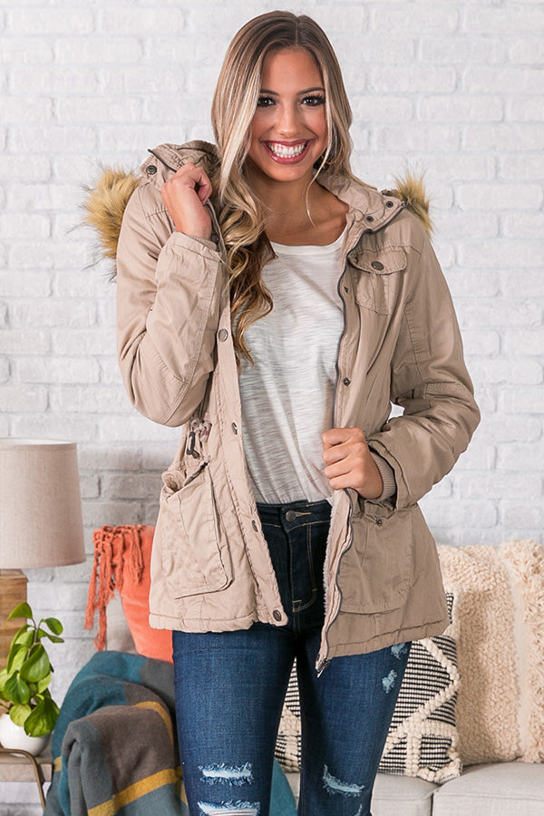 Cuddle Up Babe Faux Fur Jacket in Birch
