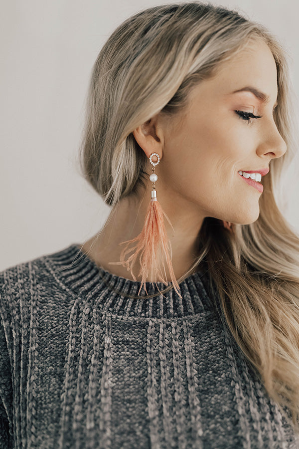 Champagne Please Feather Earrings in Blush