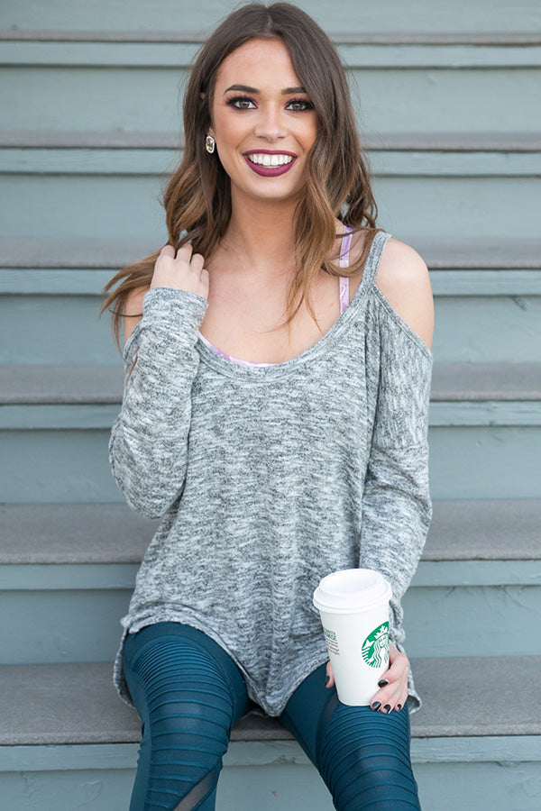 Latte Run Cold Shoulder Sweater