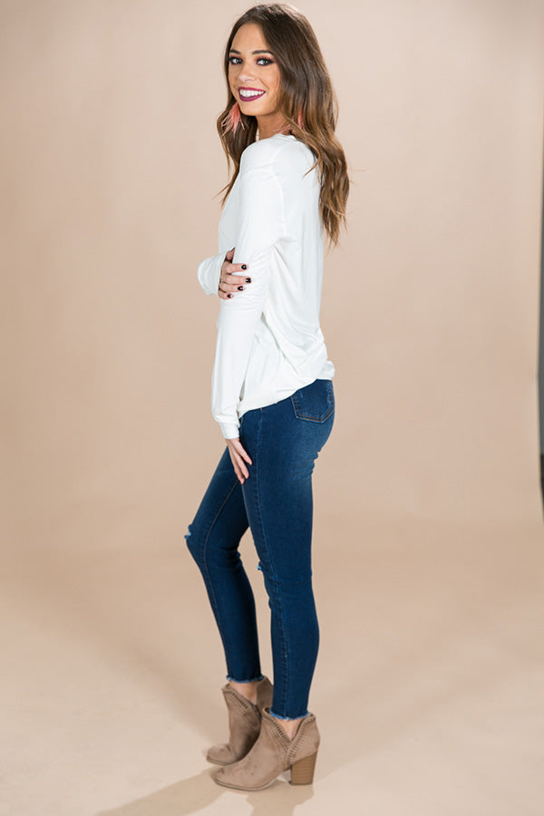 PIKO Long Sleeve V-tee in White