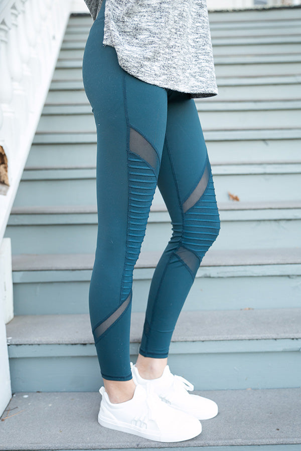Moto and Mesh Mid Rise Legging