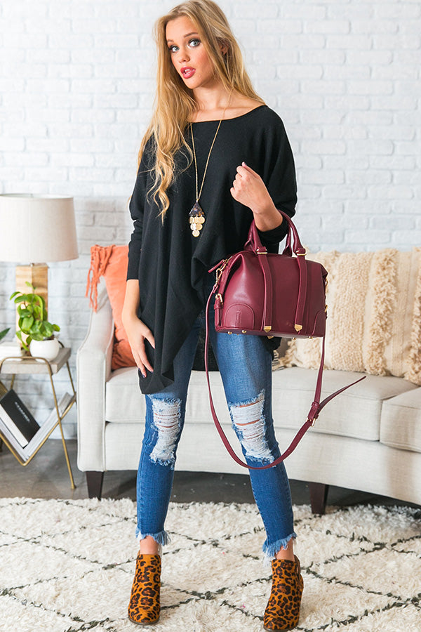 Fireside Swooning Tunic Sweater in Black
