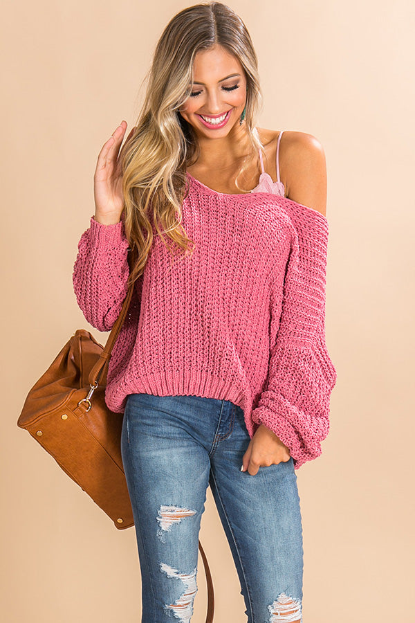 Eye Candy Tunic Sweater In Pink