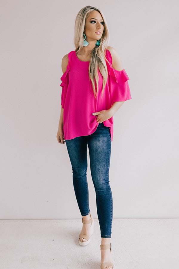 Italian Vacation Shift Top in Hot Pink