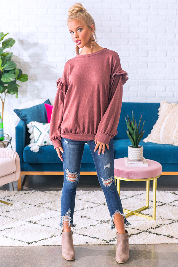 Wine and Ruffles Shift Sweater in Rustic Wine
