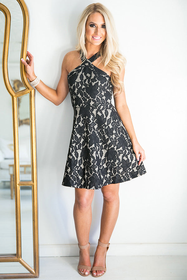 Posh Party Lace Fit and Flare Dress in Black