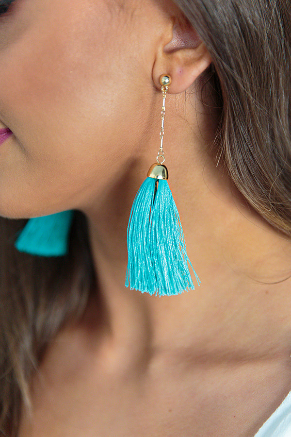 Pop Fizz Clink Tassel Earring in Turquoise