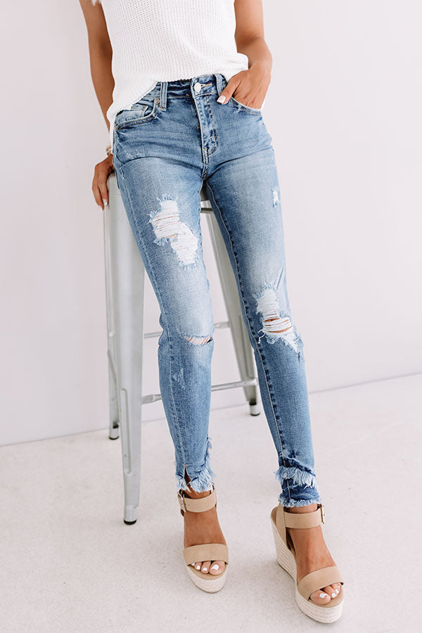 Malibu Distressed Midrise Skinny In Medium Wash
