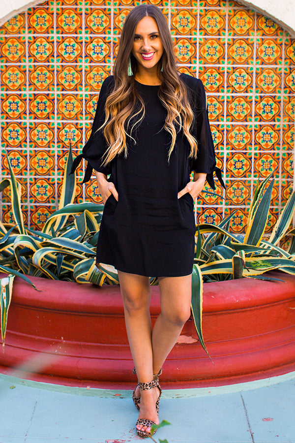 Sweet Whimsy Shift Dress In Black