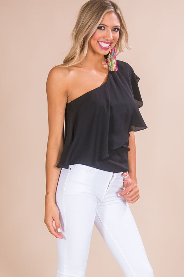 Champagne For Two Shift Top in Black